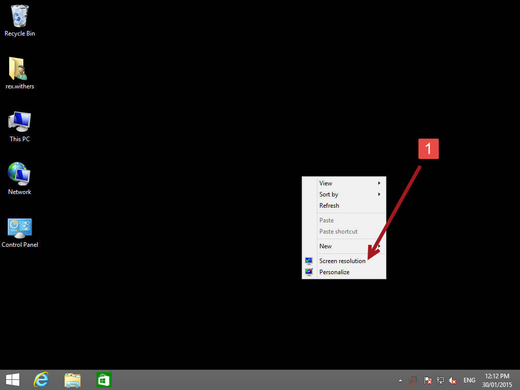 Change windows 8 text display size 1