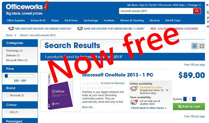 Microsoft Onenote software now free