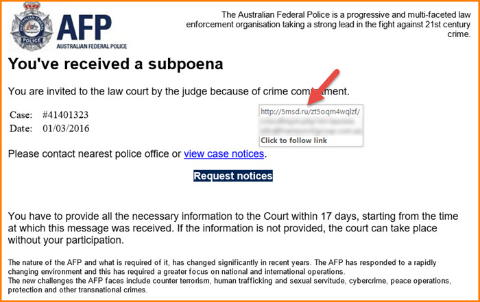 AFP scam email