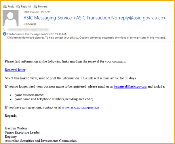 ASIC scam mail
