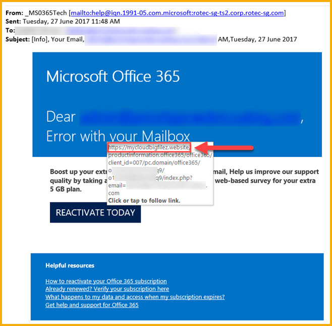 "Email scam warning ""Office 365"""