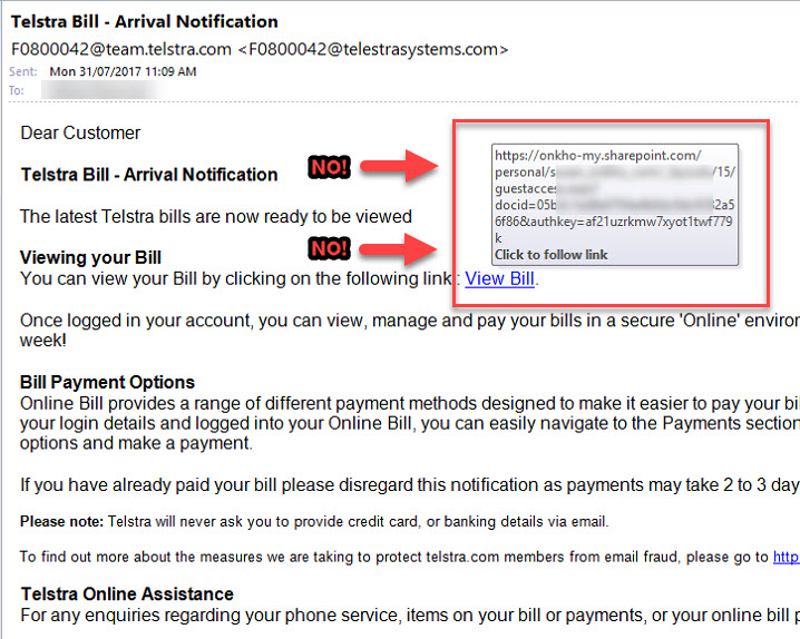 """Telstra"" phishing email"