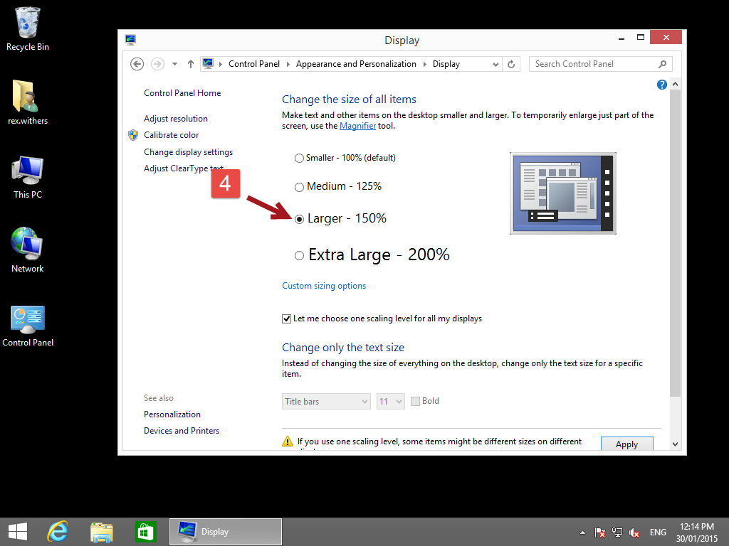 Change windows 8 text size 4