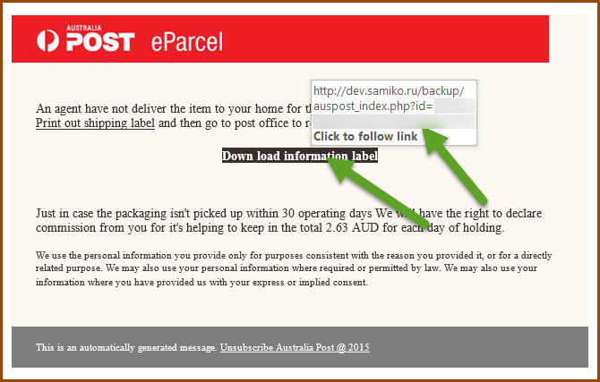 Australia post malware emails