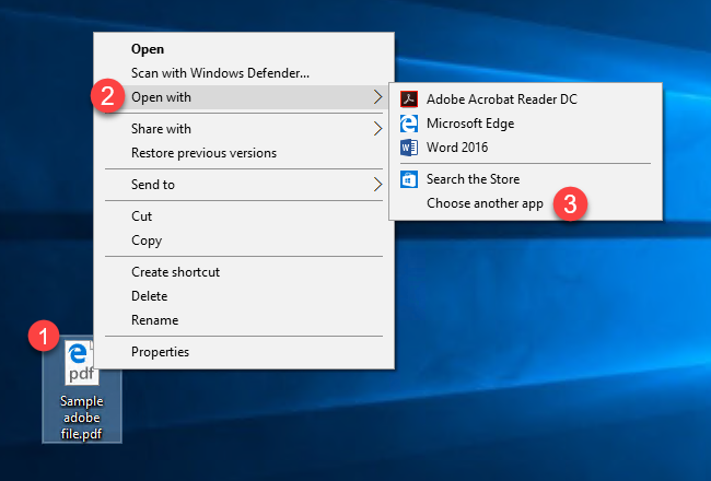 "Change the ""default app"" in Windows 10"