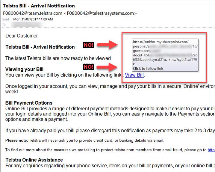 """""""Telstra"""" phishing email"""