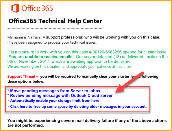 Office 365 support scam (suspected)
